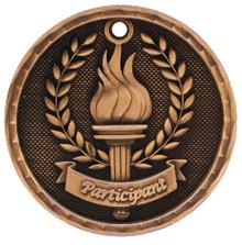 """2"""" Bronze 3D Participant Medal"""