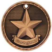 "2"" Bronze 3D Star Performer Medal"