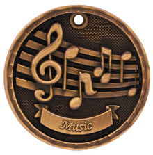 "2"" Bronze 3D Music Medal"
