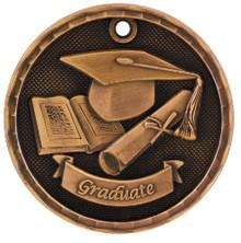 "2"" Bronze 3D Graduate Medal"