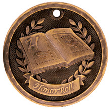 "2"" Bronze 3D Honor Roll Medal"