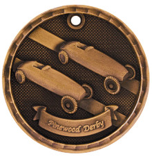 "2"" Bronze 3D Pinewood Derby Medal"