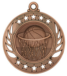 "2 1/4"" Bronze Basketball Galaxy Medal"