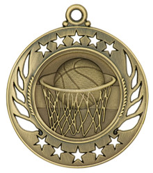 "2 1/4"" Gold Basketball Galaxy Medal"