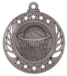 "2 1/4"" Silver Basketball Galaxy Medal"