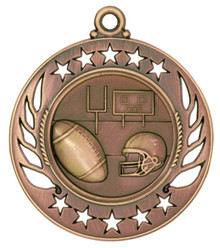 "2 1/4"" Bronze Football Galaxy Medal"