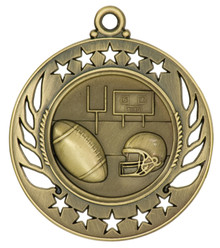 "2 1/4"" Gold Football Galaxy Medal"