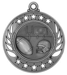 "2 1/4"" Silver Football Galaxy Medal"