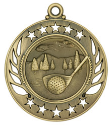 "2 1/4"" Gold Golf Galaxy Medal"