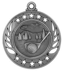 """2 1/4"""" Silver Golf Galaxy Medal"""
