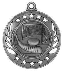 """2 1/4"""" Silver Hockey Galaxy Medal"""