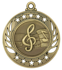 "2 1/4"" Gold Music Galaxy Medal"