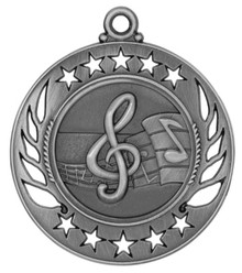 "2 1/4"" Silver Music Galaxy Medal"