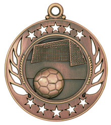 "2 1/4"" Bronze Soccer Galaxy Medal"