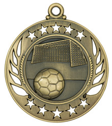 "2 1/4"" Gold Soccer Galaxy Medal"