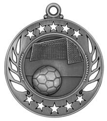 "2 1/4"" Silver Soccer Galaxy Medal"