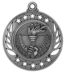 "2 1/4"" Silver Torch Galaxy Medal"