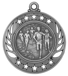 "2 1/4"" Silver Cross Country Galaxy Medal"