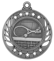 "2 1/4"" Silver Tennis Galaxy Medal"
