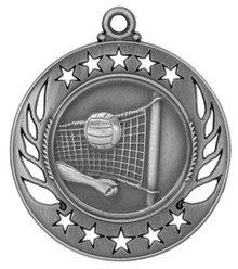 "2 1/4"" Silver Volleyball Galaxy Medal"