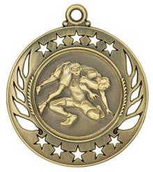 "2 1/4"" Gold Wrestling Galaxy Medal"