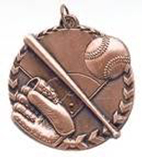 "1 3/4"" Bronze Baseball/Softball Millennium Medal"