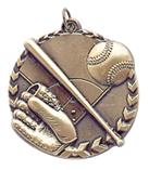 "1 3/4"" Gold Baseball/Softball Millennium Medal"