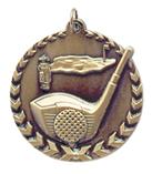 "1 3/4"" Gold Golf Millennium Medal"