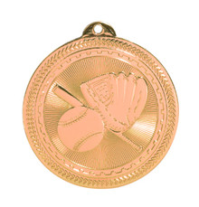 "2"" Bronze Baseball/Softball Laserable BriteLazer Medal"
