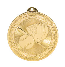 "2"" Gold Baseball/Softball Laserable BriteLazer Medal"