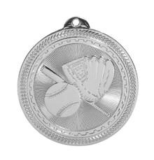 "2"" Silver Baseball/Softball Laserable BriteLazer Medal"