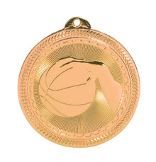 "2"" Bronze Basketball Laserable BriteLazer Medal"