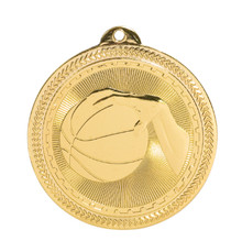 "2"" Gold Basketball Laserable BriteLazer Medal"