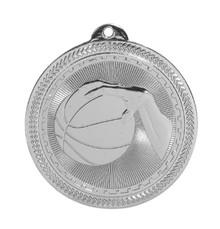 "2"" Silver Basketball Laserable BriteLazer Medal"