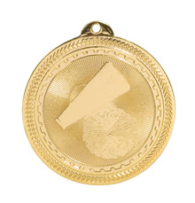 "2"" Gold Cheer Laserable BriteLazer Medal"