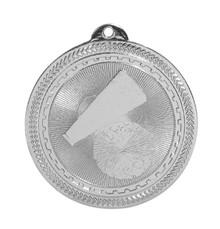"2"" Silver Cheer Laserable BriteLazer Medal"