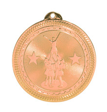 "2"" Bronze Competitive Cheer Laserable BriteLazer Medal"