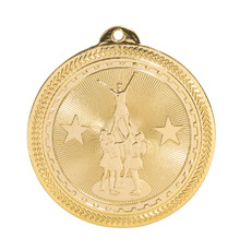 "2"" Gold Competitive Cheer Laserable BriteLazer Medal"