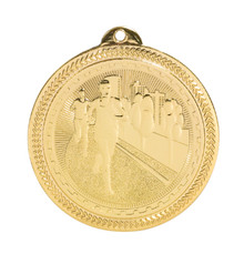 "2"" Gold Cross Country Laserable BriteLazer Medal"