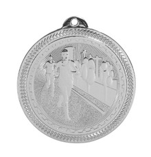 "2"" Silver Cross Country Laserable BriteLazer Medal"