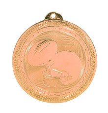 "2"" Bronze Football Laserable BriteLazer Medal"