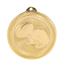 "2"" Gold Football Laserable BriteLazer Medal"
