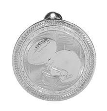 "2"" Silver Football Laserable BriteLazer Medal"