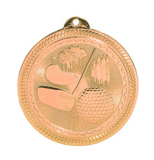 "2"" Bronze Golf Laserable BriteLazer Medal"