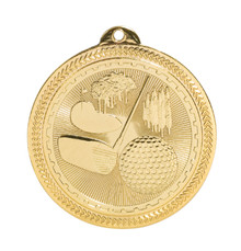 "2"" Gold Golf Laserable BriteLazer Medal"