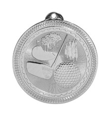 "2"" Silver Golf Laserable BriteLazer Medal"