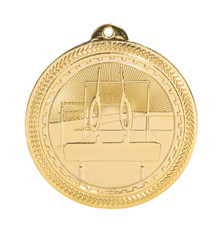 "2"" Gold Gymnastics Laserable BriteLazer Medal"