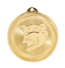 "2"" Gold Racing Laserable BriteLazer Medal"