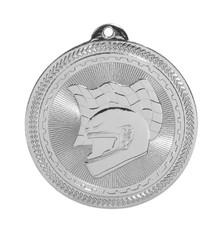 "2"" Silver Racing Laserable BriteLazer Medal"