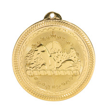"2"" Gold Swimming Laserable BriteLazer Medal"